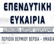 Επενδυτική ευκαιρία Λευκού Μαρμάρου στην περιοχή Βερμίου Ημαθίας - Εξασφαλισμένες πωλήσεις στην Ελλάδα και το εξωτερικό!