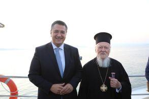 Ο Απόστολος Τζιτζικώστας και ο Οικουμενικός Πατριάρχης Βαρθολομαίος στην Ιερά Μονή Ξενοφώντος Αγίου Όρους