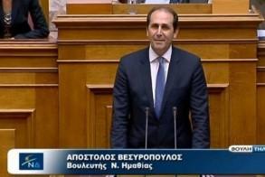Απ. Βεσυρόπουλος: «Όσοι δεν αποτρέψουν την υπογραφή αυτής της συμφωνίας θα λογοδοτήσουν στο λαό και στην ιστορία»
