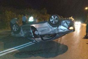 Ανατροπή αυτοκινήτου στη Νάουσα