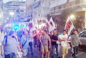 Λίγοι και δυναμικοί  του ΠΑΜΕ διαδήλωσαν χθες το απόγευμα στο κέντρο  της Βέροιας