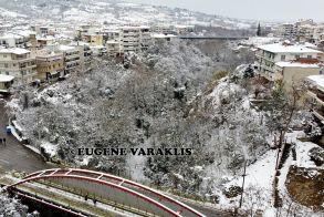 Με drone πάνω από την χιονισμένη Γέφυρα Κούσιου - Βίντεο