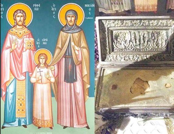Τα λείψανα των Αγίων Ραφαήλ, Νικολάου και Ειρήνης στον Ι.Ν. Αγ. Παρασκευής Πατρίδας Ημαθίας