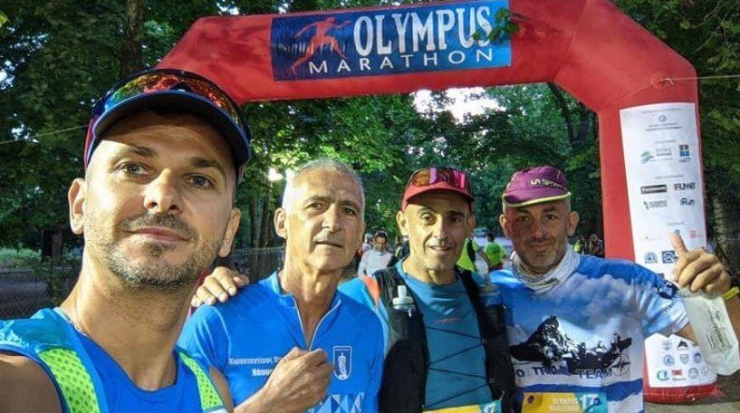 Αθλητές του 'Νάουσα Βέρμιο trail' στον 17ο 'Olympus Marathon. 1ος στην ηλικία του ο Παρίζας.