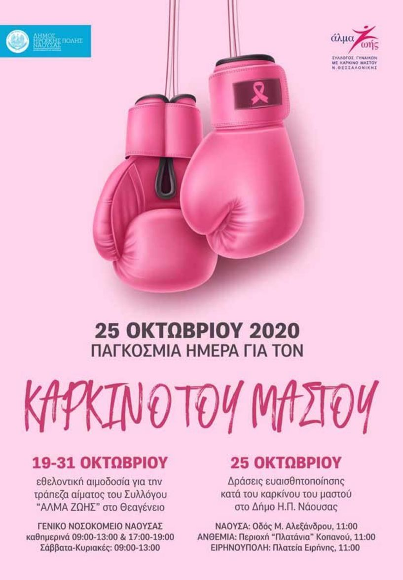 Συμβολική φωταγώγηση του Δημαρχείου Νάουσας στο πλαίσιο των δράσεων ευαισθητοποίησης κατά του καρκίνου του μαστού