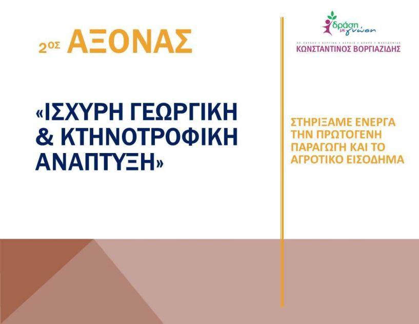 «Άξονας 2ος : Ισχυρή Γεωργική και Κτηνοτροφική Ανάπτυξη» -Στηρίζουμε ενεργά την πρωτογενή παραγωγή και το αγροτικό εισόδημα