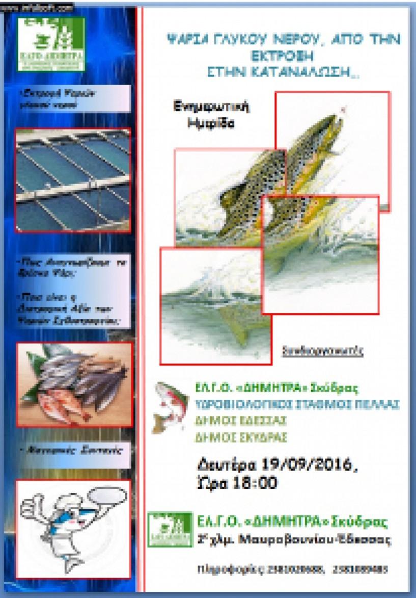 Τη Δευτέρα 19 Σεπτεμβρίου -  Ημερίδα στη Σκύδρα για τα ψάρια  του γλυκού νερού