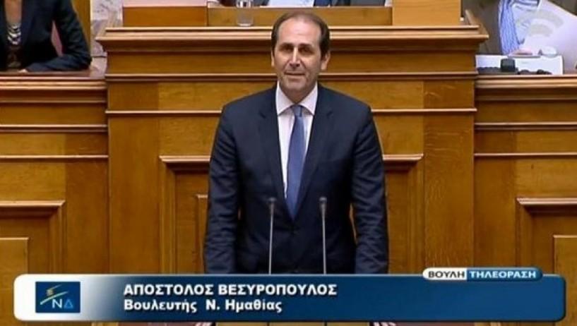 Βεσυρόπουλος: Τεράστιες και προφανείς οι ευθύνες της κυβέρνησης για την κατάσταση που αντιμετωπίζουν οι Έλληνες ροδακινοπαραγωγοί