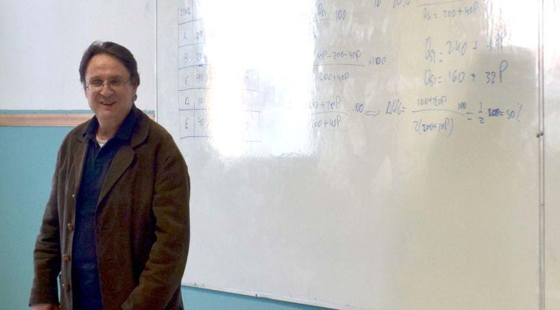 Ο αντιπρύτανης του Πανεπιστημίου Πελοποννήσου Γιώργος Ανδρειωμένος στο 4ο ΓΕΛ Βέροιας