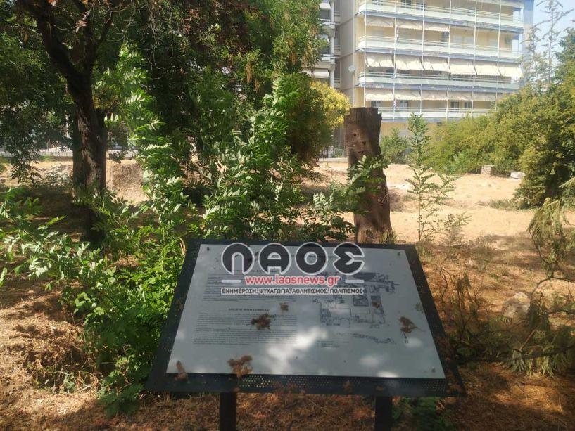 Μήπως πρέπει να αλλάξει θέση η ενημερωτική πινακίδα στα έργα του πάρκου των Αγ. Αναργύρων; (Εικόνες)