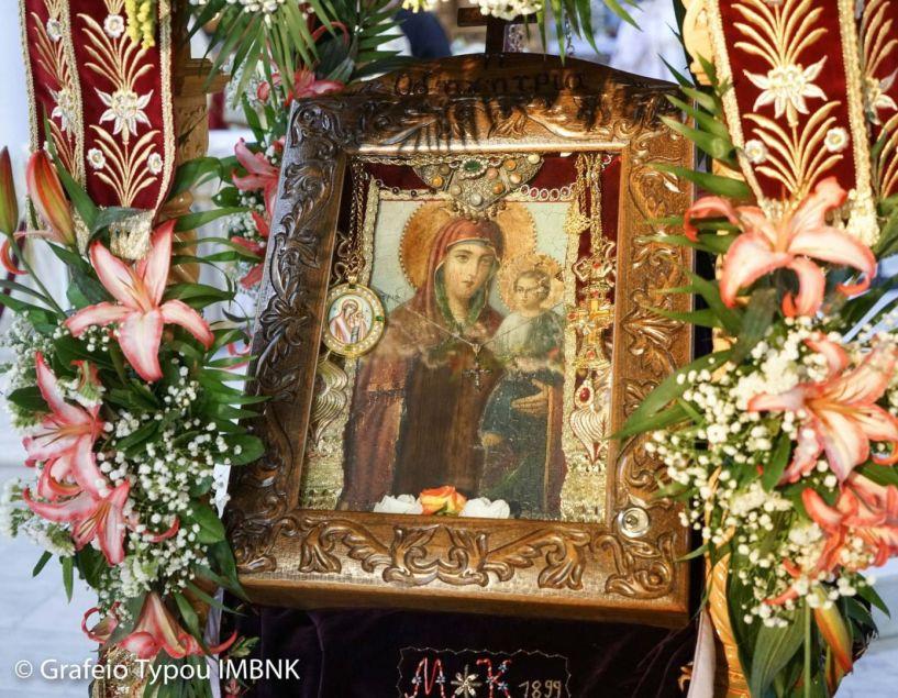 Η Μυροβλύζουσα εικόνα της Παναγίας Οδηγήτριας στον εορτάζοντα Ιερό Ναό Αγίου Νικολάου Πατρίδας (19-20 Μαΐου)