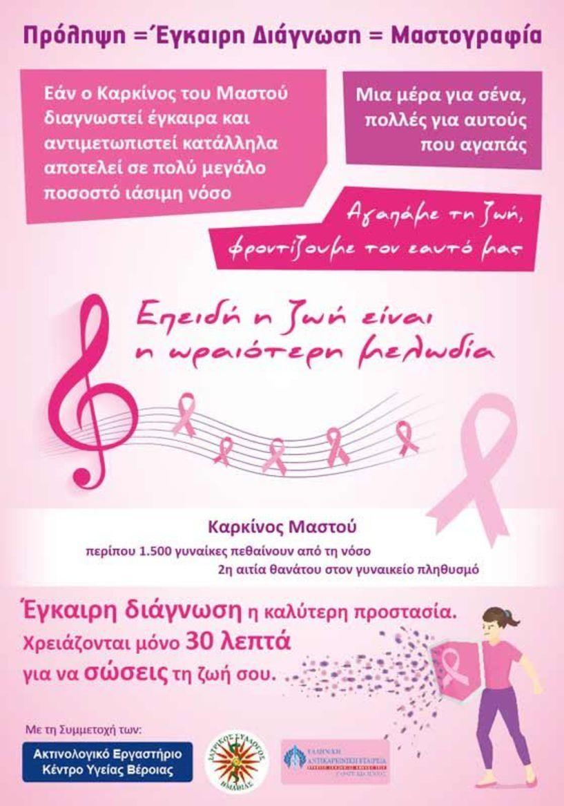 Συμμετοχή του Μουσικού Σχολείου Βέροιας στη δράση του Ακτινολογικού Εργαστηρίου Κ. Υ. Βέροιας για την πρόληψη κατά του καρκίνου του μαστού