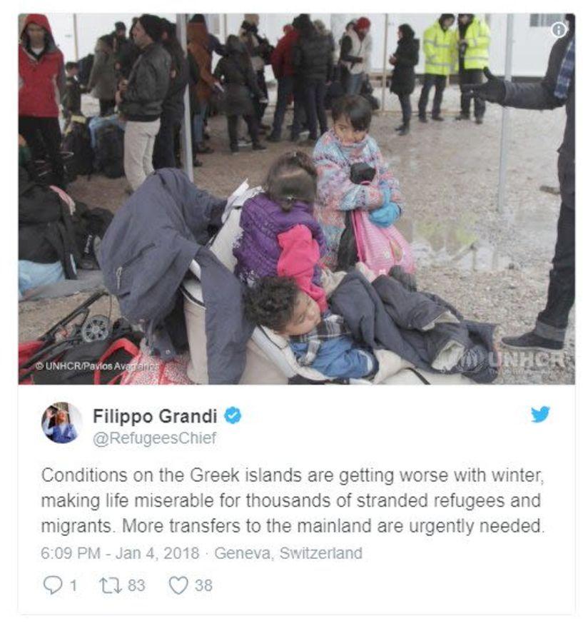 «Οι συνθήκες στα νησιά επιδεινώνονται»   -  ΟΗΕ: Έκκληση   για μεταφορά προσφύγων στην ηπειρωτική Ελλάδα