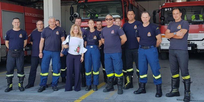 Η υποψήφια βουλευτής της ΝΔ στην Ημαθία, Νίκη Καρατζιούλα, επισκέφθηκε την Διεύθυνση Αστυνομίας Ημαθίας και την Πυροσβεστική Υπηρεσία Βέροιας