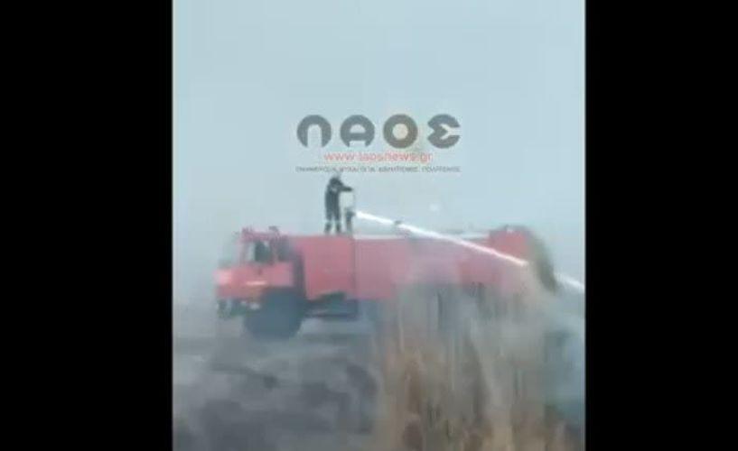 Επέμβαση της Πυροσβεστικής σε φωτιά δίπλα στην Εγνατία οδό (Βίντεο)