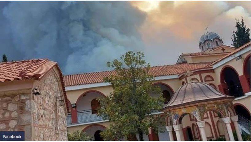 Φωτιά στην Εύβοια: Συγκλονιστικές εικόνες μέσα από τη Μονή του Οσίου Δαυΐδ - Κινδύνεψαν ιερά λείψανα