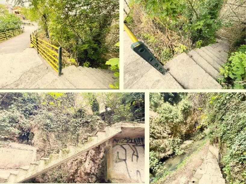 Προσοχή στα σκαλοπάτια από την γέφυρα της Μπαρμπούτας προς την όχθη του Τριποτάμου