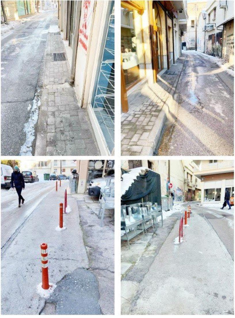 Οι καταστηματάρχες της οδού Πλατάνων στη Βέροια «εξαφάνισαν» το χιόνι!