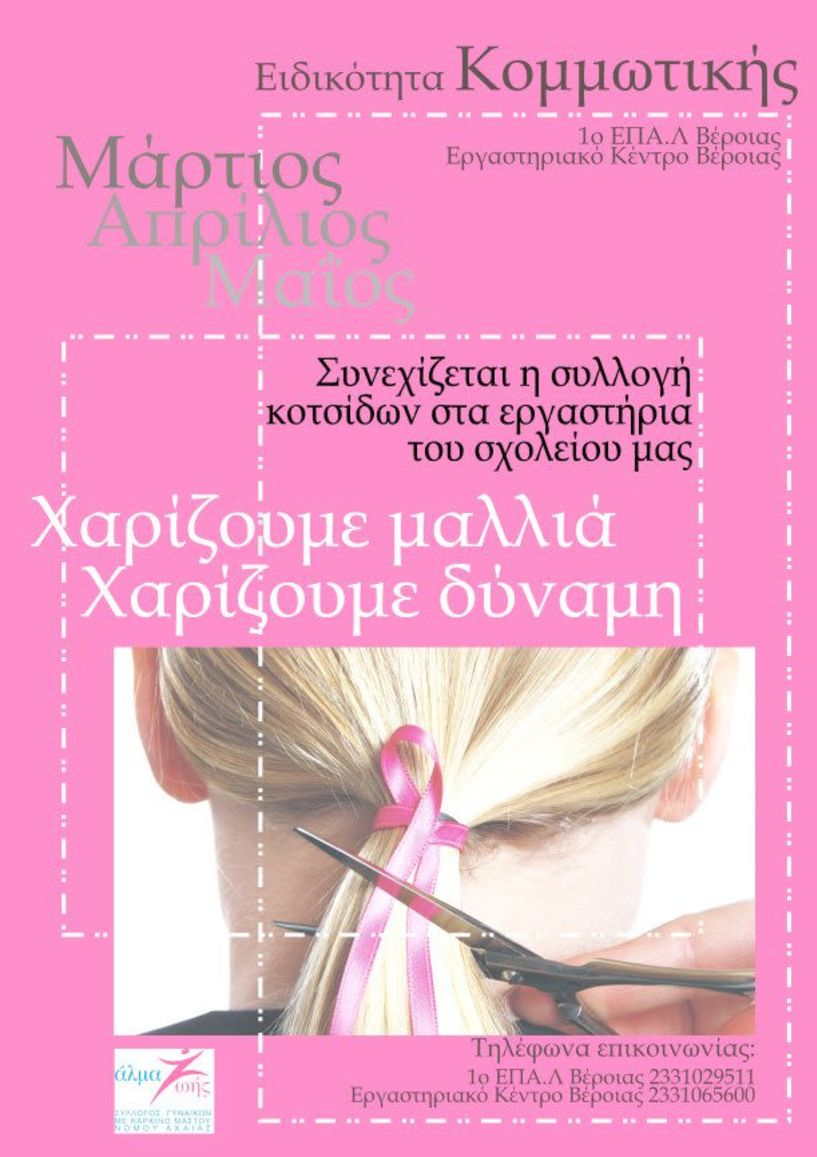 Συνεχίζεται από τους μαθητές   του 1ου ΕΠΑΛ Βέροιας η συλλογή κοτσίδων για   γυναίκες με καρκίνο