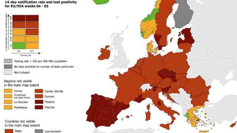 ΕCDC: Σε καλύτερη θέση η Ελλάδα σε σχέση με άλλες χώρες - Στο «κόκκινο» η Αττική