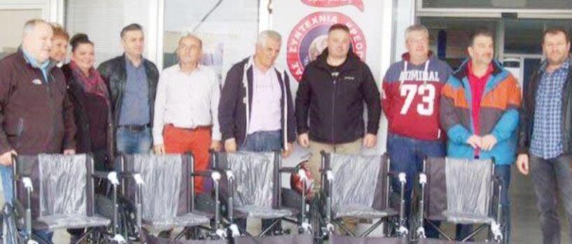 Χθες, παραμονή της γιορτής των Αρχαγγέλων - Δώρισε 5 αναπηρικά καρότσια στο Νοσοκομείο η Συντεχνία Κρεοπωλών Βέροιας